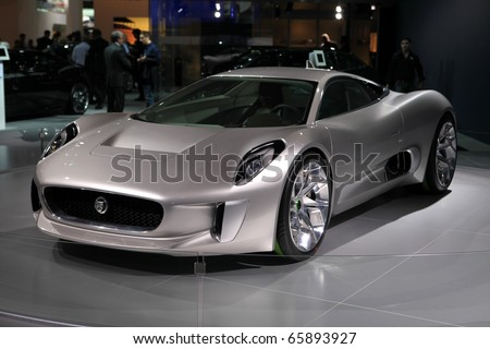 PARIS - OCTOBER 12: The Jaguar C-X75 Concept displayed at the 2010 Paris Motor Show on October 12, 2010 in Paris
