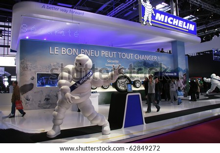 PARIS - OCTOBER 11: The Michelin stand at the Paris Motor Show 2010 at Porte de Versailles, on October 11, 2010 in Paris, France - stock photo