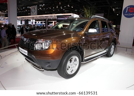 PARIS - OCTOBER 12: The new Dacia Duster by Renault on displayed at the 2010 Paris Motor Show on October 12, 2010 in Paris, France