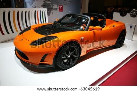 paris october 14 tesla roadster electric stock photo 63045619 shutterstock. Black Bedroom Furniture Sets. Home Design Ideas