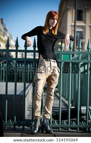 PARIS-OCTOBER 5 2016, Top model Teddy Quinlivan posing In the place Vendome PARIS. Paris fashion week, last day after VUITTON fashion show.Ready to Wear 2016/2017.