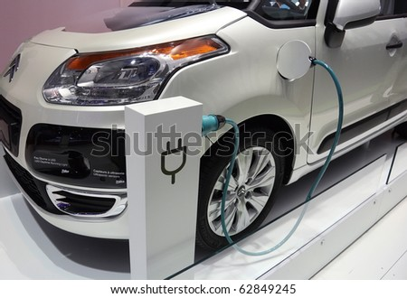 PARIS - OCTOBER 11: Valeo electric vehicle system mounted on a Citroen car at the Paris Motor Show 2010 at Porte de Versailles, on October 11, 2010 in Paris, France - stock photo