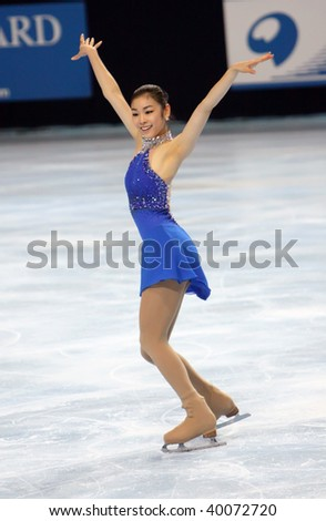 PARIS - OCTOBER 17: Yu-Na KIM of Korea performs at ladies free skating event of the ISU Grand Prix Eric Bompard Trophy October 17, 2009 at Palais-Omnisports de Bercy, Paris, France. - stock photo