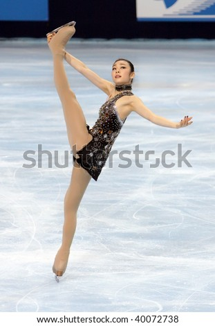 PARIS - OCTOBER 16: Yu-Na KIM of Korea performs at ladies short skating event of the ISU Grand Prix Eric Bompard Trophy on October 16, 2009 at Palais-Omnisports de Bercy, Paris, France.