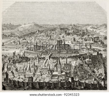 Paris old bird eye view. After print of late 16th century, published on Magasin Pittoresque, Paris, 1845 - stock photo