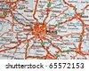 Paris on a map closeup - stock photo