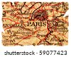 Paris on an old torn map, isolated. Part of the old map series. - stock photo