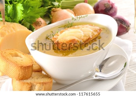 Paris onion soup - stock photo