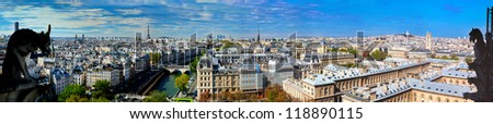 Paris panorama, France. View on Eiffel Tower and Seine river from Notre Dame Cathedral - stock photo