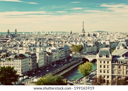 Paris panorama, France. View on Eiffel Tower and Seine river from Notre Dame Cathedral. Vintage, retro style - stock photo