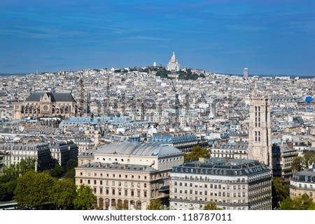 Paris panorama, France. View on Sacre-Coeur Basilica on Montmartre from Notre Dame