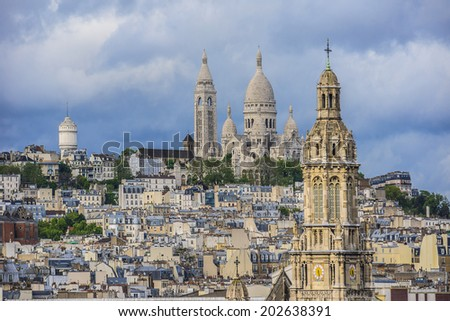 Paris Panorama. Sacre-Coeur in the background. France.