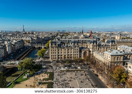 Paris Panorama. View from Cathedral Notre Dame de Paris. France.