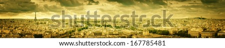 Paris panorama with yellow scenic sky - stock photo