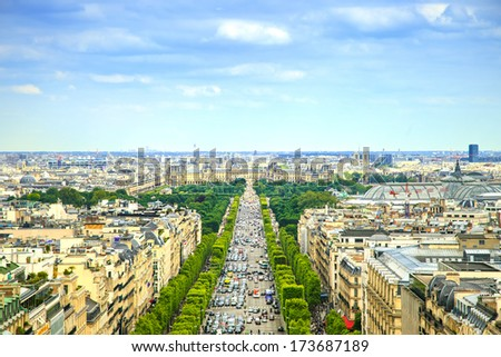 Paris, panoramic aerial view of Champs Elysees boulevard. France, Europe. - stock photo