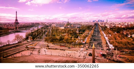 Paris panoramic aerial view of the city and landmarks in pink morning light. Processed color. - stock photo
