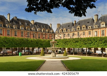 Paris. Paris - Place des Vosges, Paris. Place des Vosges, Paris, France. Paris, Place des Vosges. Paris. Place des Vosges (Place Royale) lin Marais district. Paris.Paris. Place des Vosges,Paris.  - stock photo