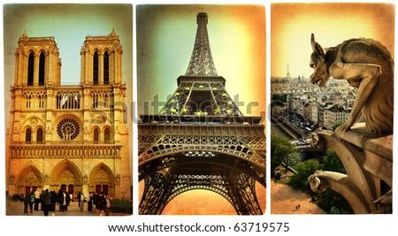 Paris paris.. vintage photoalbum series - stock photo