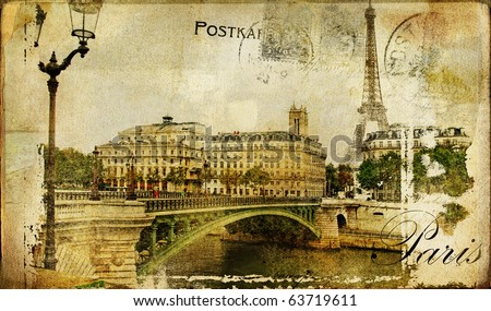 Paris paris.. vintage photoalbum series - stock photo