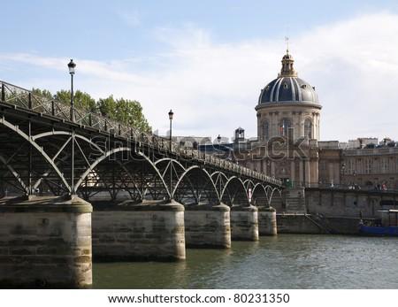 Paris - Pont des Arts and  Instutut de France - stock photo