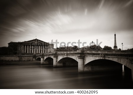 Paris River Seine and bridge with Assemblee Nationale