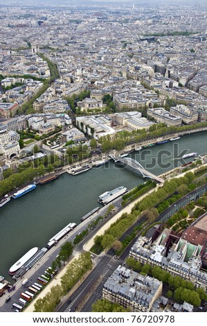 Paris. River Seine with the height. Urban scene. - stock photo
