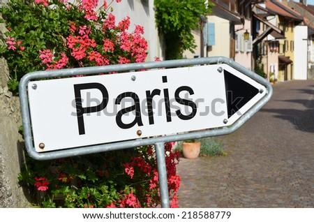 Paris road sign - stock photo