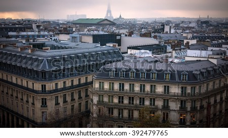 Paris rooftops - stock photo