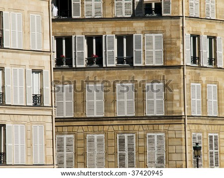 Paris's building with white shutters