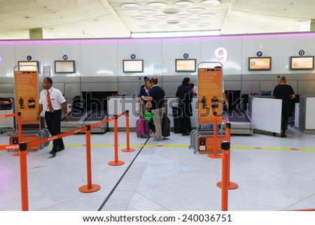 PARIS - SEP 10: Charles de Gaulle Airport interior on September 10, 2014 in Paris, France. Charles de Gaulle Airport, is one of the world's principal aviation centres. - stock photo