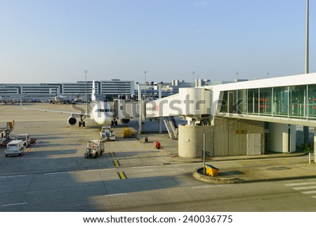 PARIS - SEP 10: Charles de Gaulle Airport on September 10, 2014 in Paris, France. Charles de Gaulle Airport, is one of the world's principal aviation centres - stock photo