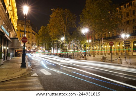 PARIS - SEP 06: Paris at night on September 06, 2014 in Paris, France. Paris, aka City of Love, is a popular travel destination and a major city in Europe