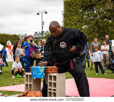 PARIS - SEPT 22: Unidentified man breaks the tiles performing Qwan Ki Do on September 22, 2013 in Paris, France. Famillathlon, action for raising awareness to sport, takes place in Champ de Mars. - stock photo