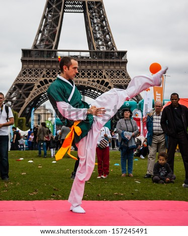 PARIS - SEPT 22: Unidentified young man performs Kung Fu on September 22, 2013 in Paris, France. Famillathlon, action for raising awareness to sport, takes place in Champ de Mars (near Eiffel tower). - stock photo