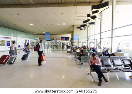 PARIS - SEPTEMBER 10: Airport interior on September 10, 2014 in Paris, France. Paris Charles de Gaulle Airport, is one of the world's principal aviation centres. - stock photo