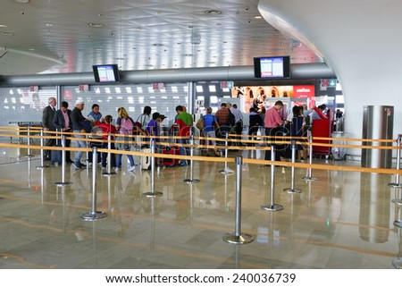 PARIS - SEPTEMBER 10: Charles de Gaulle Airport interior on September 10, 2014 in Paris, France. Charles de Gaulle Airport, is one of the world's principal aviation centres - stock photo