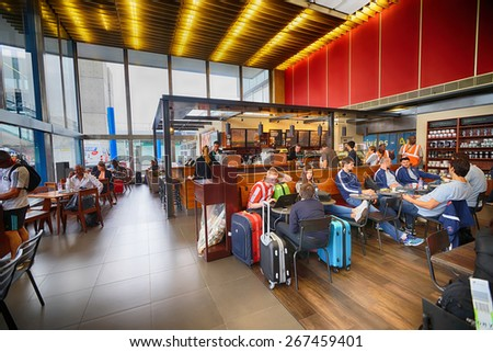 PARIS - SEPTEMBER 04: Starbucks cafe interior in Orly Airport on September 04, 2014 in Paris, France. Paris Orly Airport is an international airport located partially in Orly, south of Paris - stock photo