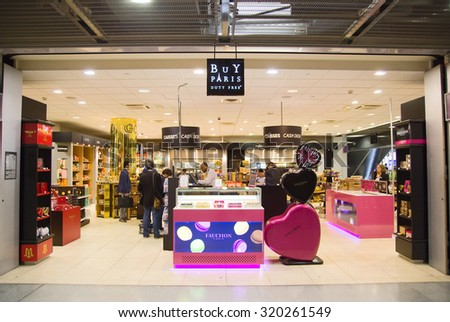 PARIS - SEPTEMBER 5TH: Buy Paris at Charle de gaulle airport on September the 5th, 2015 in Paris, France. Charle de gaulle is one of the busiest airports in the world - stock photo
