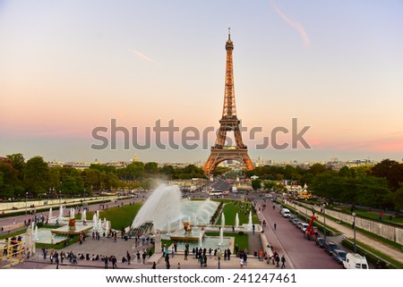 PARIS - SEPTEMBER 25: The Eiffel Tower, a global cultural icon of France, taken on September 25, 2014 in Paris, France - stock photo