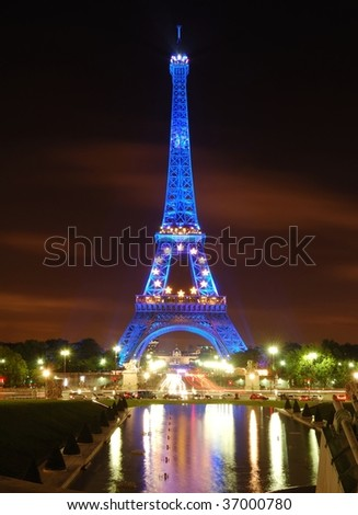 PARIS - SEPTEMBER 3: The Eiffel Tower is shown in blue illumination in celebration of France's rotating six month presidency of the European Union (EU) September 3, 2008 in Paris.