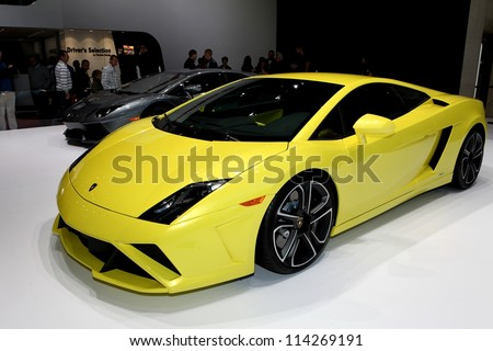 PARIS - SEPTEMBER 30: The Lamborghini Gallardo LP 560-4 displayed at the 2012 Paris Motor Show on September 30, 2012 in Paris - stock photo