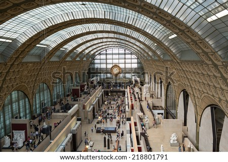 PARIS -SEPTEMBER 7, 2014: the museum D'Orsay in Paris, France. Musee d'Orsay has the largest collection of impressionist and post-impressionist paintings in the world.  - stock photo