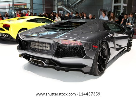 PARIS - SEPTEMBER 30: The new Lamborghini Aventador displayed at the 2012 Paris Motor Show on September 30, 2012 in Paris - stock photo