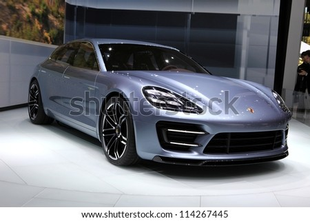 PARIS - SEPTEMBER 30: The new Porsche Panamera Sport Turismo Concept displayed at the 2012 Paris Motor Show on September 30, 2012 in Paris
