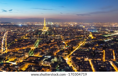 PARIS - SEPTEMBER 24, 2013: View of Paris with the Eiffel Tower from the Montparnasse Tower at night.