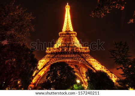 PARIS -  25 SEPTEMBER: View of the Tower Eiffel on September 25, 2013 in Paris. The Eiffel tower is the most visited monument of France. The Eiffel tower stands 324 metres (1,063 ft) tall.