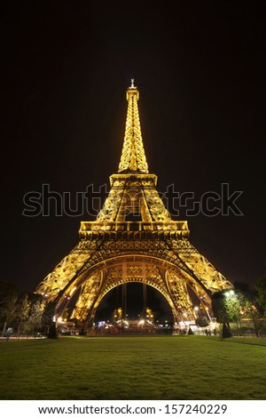 PARIS -  25 SEPTEMBER: View of the Tower Eiffel on September 25, 2013 in Paris. The Eiffel tower is the most visited monument of France. The Eiffel tower stands 324 metres (1,063 ft) tall. - stock photo