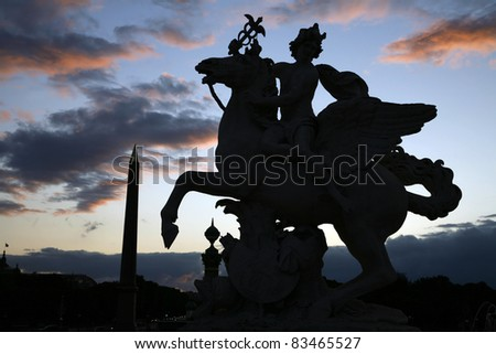 Paris - silhouette of statue  from Tuileries garden