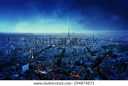 Paris skyline at sunset, France - stock photo