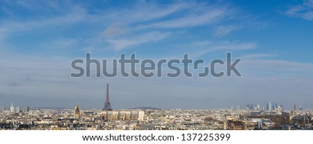Paris skyline from Notre Dame France - stock photo